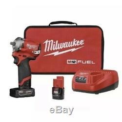 Milwaukee M12 2554-22 FUEL 3/8 Cordless Stubby Impact Wrench Kit 3/8 Inch 12V