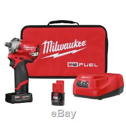 Milwaukee M12 2555-22 12-Volt FUEL 1/2-Inch Cordless Stubby Impact Wrench Kit