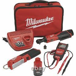 Milwaukee M12 Cordless Automotive Ratchet Kit-3/8in. Ratchet #2457-21NTE