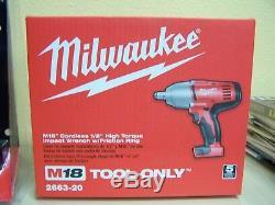 Milwaukee M18 18-Volt Cordless 1/2 in. Impact Wrench Starter Kit NEW 2663-20