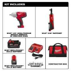 Milwaukee M18 M12 Cordless Combo Tool Kit 2 Tools 3/8 Ratchet 1/2 Impact Wrench