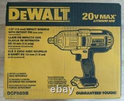 NEW DEWALT DCF889B 20V MAX High Torque Li-Ion 1/2 Impact Wrench with Detent Pin