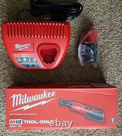 NIB Milwaukee M12 Cordless 3/8 Ratchet, 2457-20 Kit Charger & 2.0 AH Battery