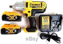 New Dewalt DCF889 20V 1/2 Cordless Impact Wrench, (2) DCB205 Batteries, Charger