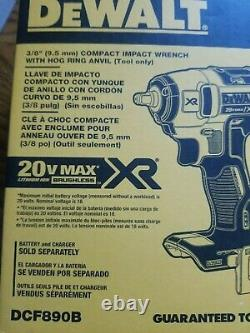 New Dewalt DCF890B 20V Max XR 3/8 Compact Impact Wrench (Bare) no battery