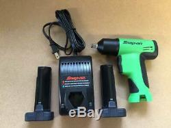 New Green Snap On Tools 3/8 Cordless Impact Wrench with Charger and 2 Batteries