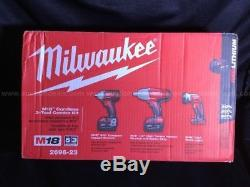 New Milwaukee 2696-23 M18 Cordless 1/2 & 3/8 Drive Impact Wrench Combo Kit