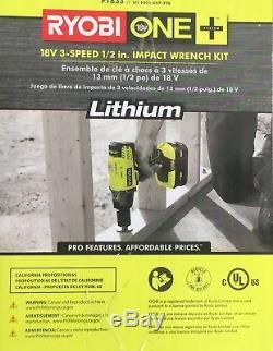 P183 3 speed RYOBI 18V 1/2 Cordless Impact Wrench Kit 300 ft-Torque + Bag