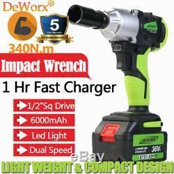 Power 21V 6.0Ah 430N. M 1/2Electric Cordless Impact Wrench Tool Rattle Nut Gun