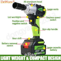 Powerful 21V Lithium-Ion Battery 1/2sq High Torque Cordless Impact Wrench Gun
