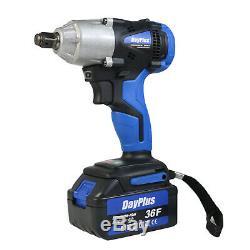 Powerful Cordless Electric Impact Wrench Gun 1/2'' Driver 420Nm 2 Li-ion Battery