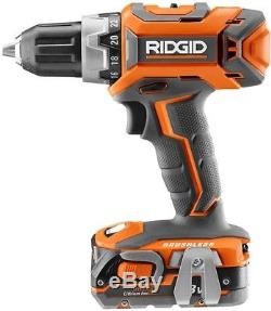 RIDGID 18-Volt Cordless Drill Driver Impact Wrench Combo Kit Battery Charger