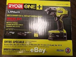 RYOBI 3-speed 18V 1/2 Cordless Impact Wrench Kit 4Ah Battery Charger Bag P1833