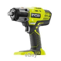 RYOBI ONE+ 1/2Impact Wrench Kit Lithium Ion Cordless 3Speed Battery Charger Bag