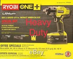 RYOBI P1833 3-speed 18V 1/2 Cordless Impact Wrench Kit 4ah Battery Charger Bag