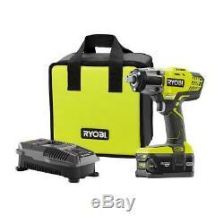 RYOBI P1833 Impact Wrench Kit 18V 1/2 LED Cordless 3-Speed with Battery 4.0ah NEW