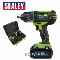 Sealey Cp400lihv 18v Lithium-ion 1/2 Cordless Impact Wrench 3ah Battery In Case