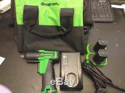Snap On 3/8 14.4v Green MicroLithium Cordless Impact Wrench Gun Kit CTEU761AG